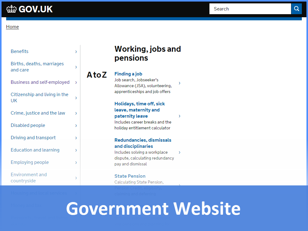 Government Website: Working, jobs and pensions